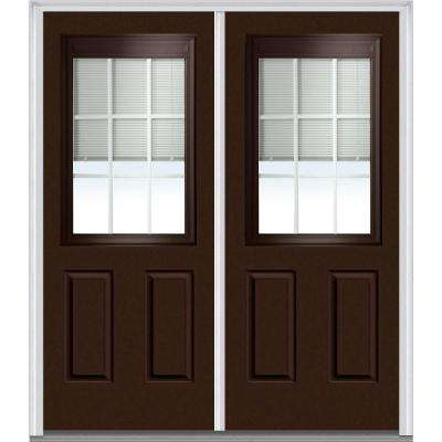 72 in. x 80 in. Classic Clear RLB GBG Low-E Glass 1/2-Lite 2-Panel Painted Majestic Steel Double Prehung Front Door