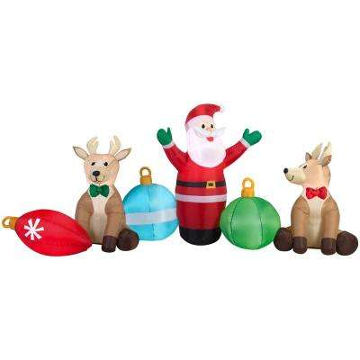 107.87 in. W x 50 in. D x 53.15 in. H Inflatable Airblown Santa, Reindeer and Ornaments Collection Scene