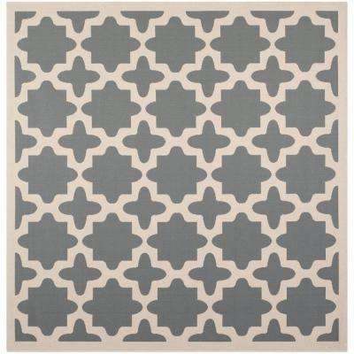 Courtyard Anthracite/Beige 4 ft. x 4 ft. Indoor/Outdoor Square Area Rug