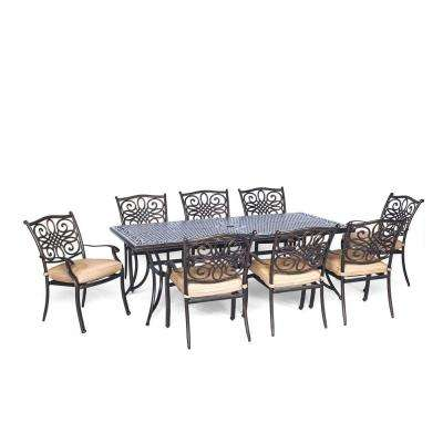 Traditions 9-Piece Rectangular Patio Dining Set with Natural Oat Cushions