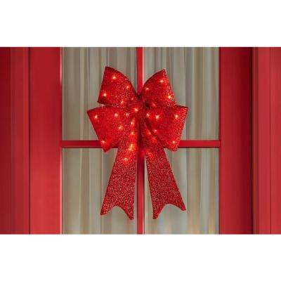 24 in Lighted Red Tinsel Bow