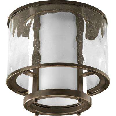 Bay Court Collection Antique Bronze 1-light Outdoor Flushmount