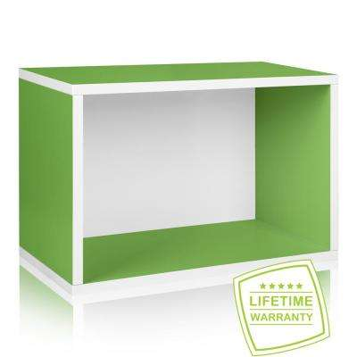 Way Basics Eco Stackable zBoard Paperboard 11.2 x 22.8 x 15.5 Tool-Free Assembly Rectangle Cubby Shelf Unit in Green