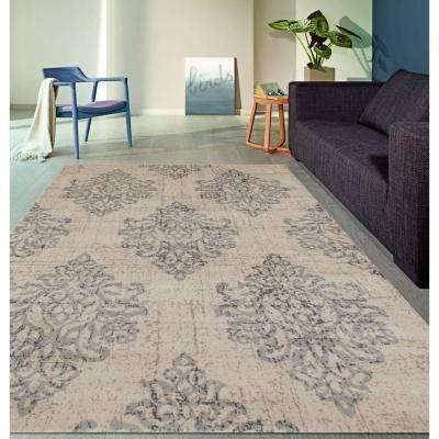 Transitional Damask High Quality Soft Gray 8 ft. x 10 ft. Area Rug
