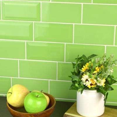Park Slope Beveled Subway Kiwi Green 3 in. x 6 in. Ceramic Wall Tile (36 cases / 690.48 sq. ft. / pallet)