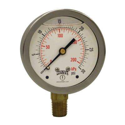 PFQ Series 2.5 in. Stainless Steel Liquid Filled Case Pressure Gauge with 1/4 in. NPT LM and Range of 0-30 psi/kPa