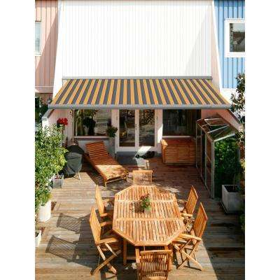 12 ft. Classic C Series Semi-Cassette Manual Retractable Patio Awning (118 in. Projection) in Yellow/Gray Stripes
