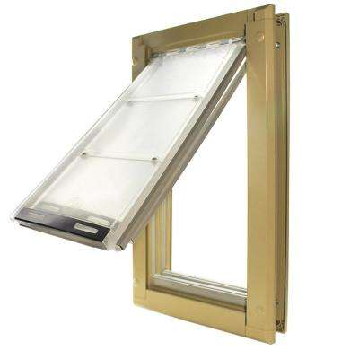 10 in. x 18 in. Large Double Flap for Doors with Tan Aluminum Frame