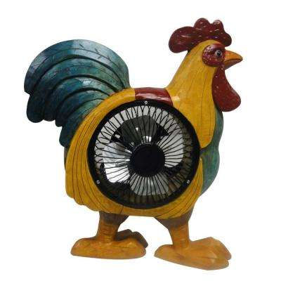 12 in. Rooster Decoration with Fan