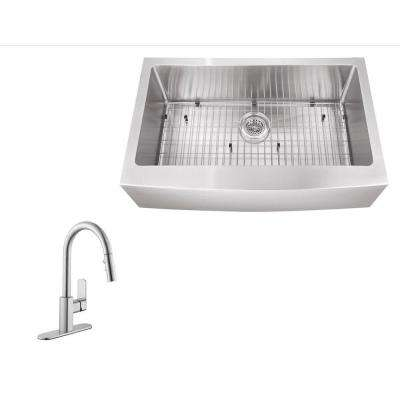 All-in-One Farmhouse Apron Front Stainless Steel 31 in. Single Bowl Kitchen Sink with Faucet
