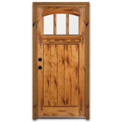 Craftsman 3 Lite Arch Stained Knotty Alder Wood Prehung Front Door