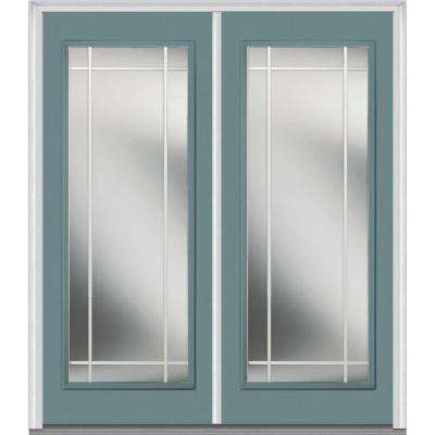 72 in. x 80 in. Classic Clear Glass PIM Full Lite Painted Majestic Steel Double Prehung Front Door