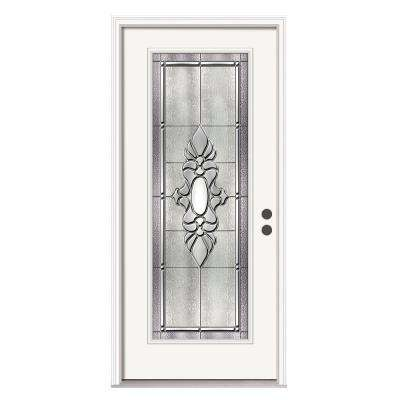 Langford Full Lite Primed White Steel Prehung Front Door with Brickmould and Satin Nickel Caming