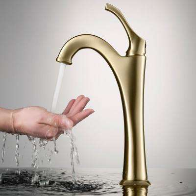 Arlo Single Hole Single Handle Vessel Bathroom Faucet with Pop Up Drain in Brushed Gold