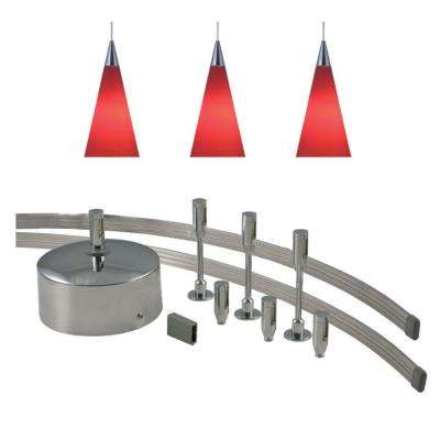 96 in. Low-Voltage 150-Watt Monorail Kit with 3 Red Pendants