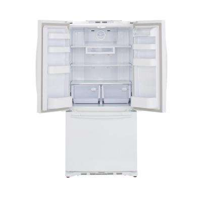 33 in. W 17.5 cu. ft. French Door Refrigerator in White, Counter Depth
