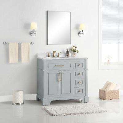 Melpark 36 in. W x 22 in. D Bath Vanity in Dove Grey with Cultured Marble Vanity Top in White with White Sink
