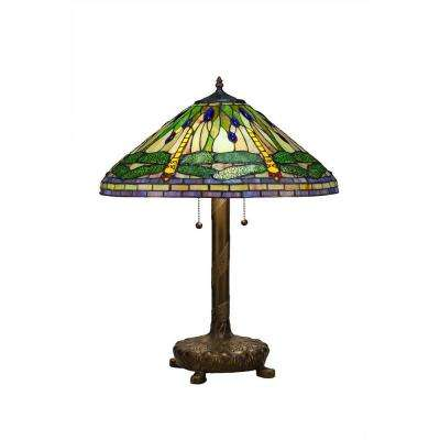 Tiffany Green Dragonfly 25 in. Bronze Table Lamp