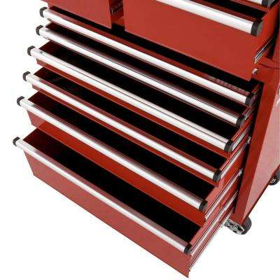 36 in. W x 18.3 in. D 12-Drawer Tool Chest and Rolling Cabinet Combo in Red