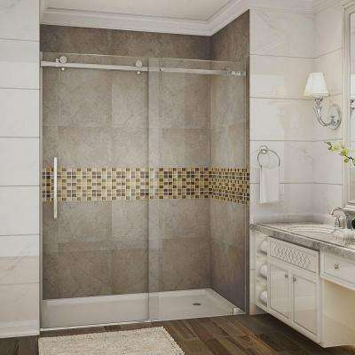 Moselle 60 in. x 75 in. Completely Frameless Sliding Shower Door in Chrome with Clear Glass