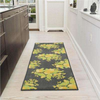 Lemon Collection Gray 1 ft. 8 in. x 4 ft. 11 in. Lemon Design Runner Rug
