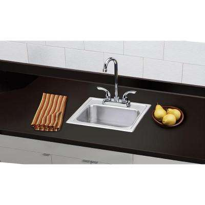 All-in-One Drop-in Stainless Steel 15 in. 2-Hole Single Bowl Bar Sink