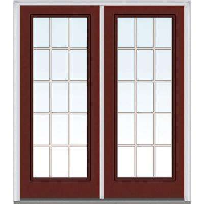 Classic Clear Glass GBG Full Lite Painted Majestic Steel Double Prehung Front Door