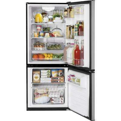 24 in. 10.5 cu. ft. Bottom Freezer Refrigerator in Stainless Steel