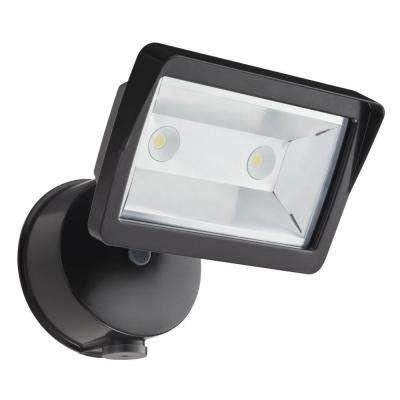 Dusk-to-Dawn Bronze Wall-Mount LED Mini Single-Head Outdoor Flood Light