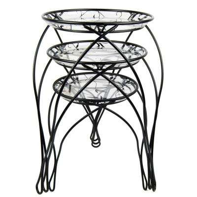13 in. x 17 in. x 21 in. Black Assortment Plant Stand
