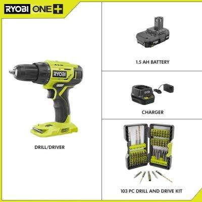 18-Volt Cordless ONE+ 1/2 in. Drill/Driver Kit w/(1) 1.5 Ah Battery, Charger and Titanium Coated Steel Drill/Drive Kit