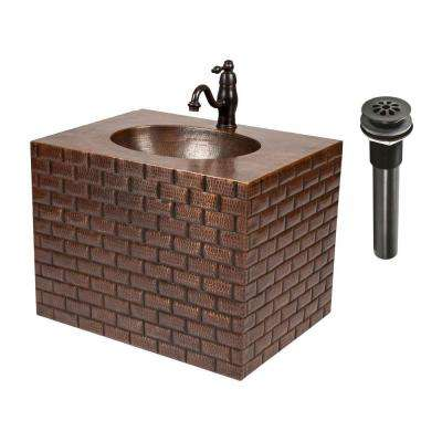 24 in. Tuscan Wall Mount Copper Vanity with Built-In Bathroom Sink and Faucet in Oil Rubbed Bronze