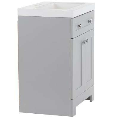 Everdean 24.5 in. W x 19 in. D x 34 in. H Vanity in Pearl Gray with Cultured Marble Vanity Top in White with White Sink