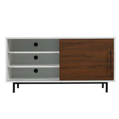 Wakeman Two-Tone TV Stand for 55 in. TVs in High Gloss White/Wakefield Oak