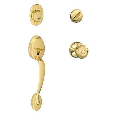 Plymouth Single-Cylinder Bright Brass Handleset with Georgian Knob