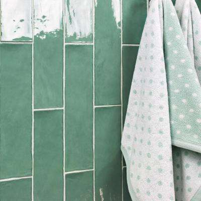 Catalina Green Lake 3 in. x 12 in. x 8 mm Polished Ceramic Subway Wall Tile (10.76 sq.ft./case)
