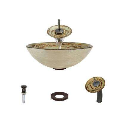 Glass Vessel Sink in Gold and Red Swirl Foil Undertone with Waterfall Faucet and Pop-Up Drain in Oil Rubbed Bronze