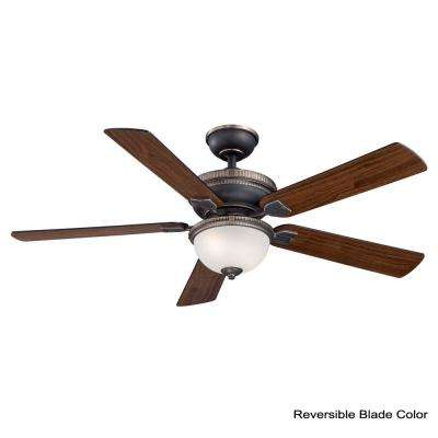Colbert 52 in. Indoor Tarnished Bronze Ceiling Fan with Light Kit and Remote Control