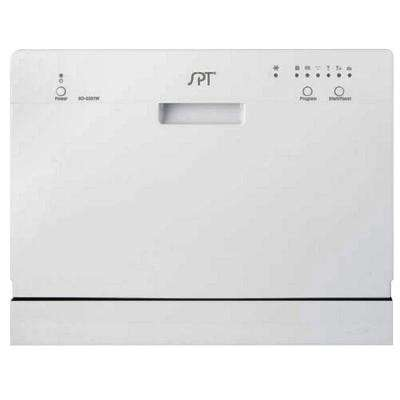 SPT Countertop Dishwasher in White with 6 wash cycles