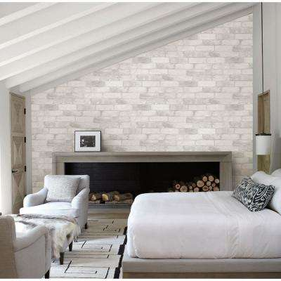 White Reclaimed Bricks Rustic Wallpaper
