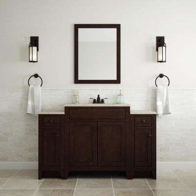 Modular 24.5 in. W Bath Vanity in Java with Solid Surface Vanity Top in Cappuccino with White Sink