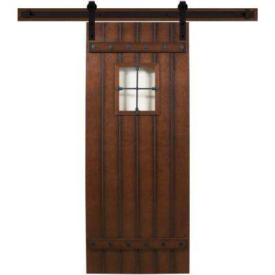 36 in. x 90 in. Tuscan III Stained Hardwood Interior Barn Door with Sliding Door Hardware Kit