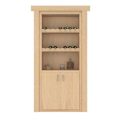 30 in. x 80 in. Flush Mount Assembled Maple Natural Stained Right-Hand Outswing Wine Rack Door