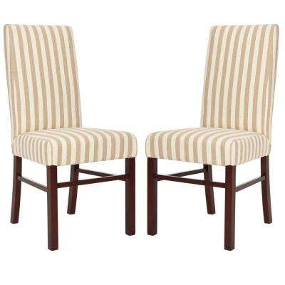 Classic Birchwood Chair in Cream and Tan Stripe (Set of 2)