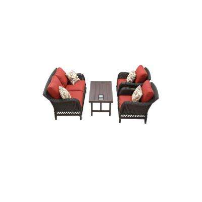 Woodbury 4-Piece Wicker Outdoor Patio Seating Set with Chili Cushion