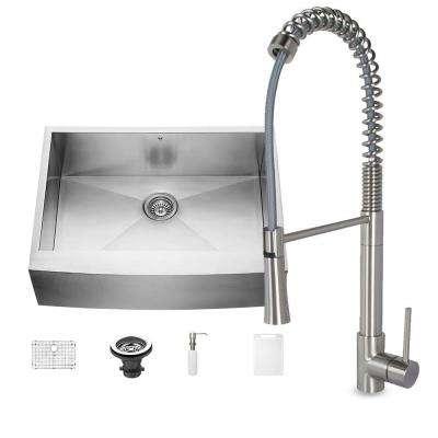 All-in-One Farmhouse Stainless Steel 30 in. Single Bowl Kitchen Sink and Laurelton Stainless Steel Faucet Set