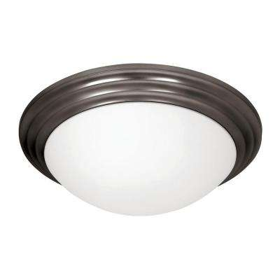 Strata 3-Light Oil Rubbed Bronze Flushmount with Opal Glass Shade