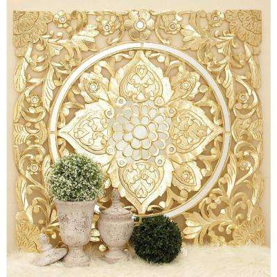47 in. x 47 in. Decorative Filigree-Patterned Wood and Mirror Wall Panel