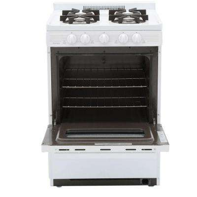 24 in. 2.97 cu. ft. Battery Spark Ignition Gas Range in White