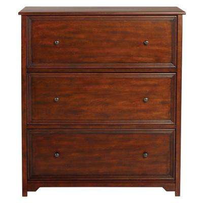 Oxford 3-Drawer Wood Lateral File Cabinet in Chestnut